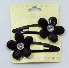 Jumbo Sparkle Gem Flower Fashion Hair clip set 2Pcs Black