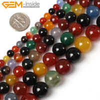 "Natural Round Multi Colour Agate Gemstone Loose Beads For Jewellery Making 15""UK"