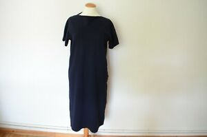 JIL SANDER Jersey Sommer Kleid in Navy Blau 38 knielang kurze Arme