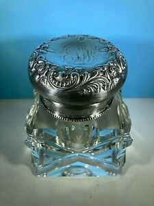 Antique Crystal Inkwell Repousse Floral Lid  Silver plate 1900 Monogram