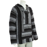 Men's FairTrade Mexican JERGA Baja Top Hoodie BLACK WHITE Size M L XL 2XL 3XL