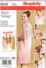 Vintage 60s Retro 3 Arm Back Wrap Dress Simplicity Sewing Pattern 8 10 12 14 16