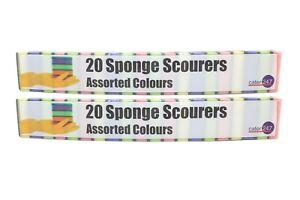 40-100 Rainbow Sponge Scourers | Durable | Kitchen | Bathroom