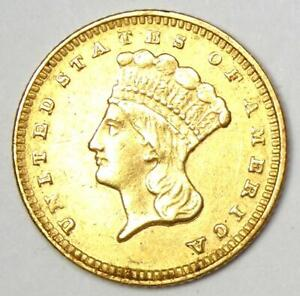 1874 Indian Dollar Gold Coin (G$1) - AU Details - Rare Coin!