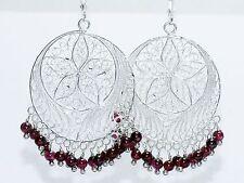 Vintage Sterling Silver 925 Chandelier Filigree Garnet Dangle Pierced Earrings