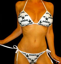 NEW NFL DALLAS COWBOYS/LINED RIO V SCRUNCHY BIKINI C/D TOP SMALL MADE IN USA