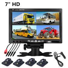 """7"""" Car Reverse Parking Monitor 4 Split Screen 4 AV Input Remote+4Pcs HD Cameras"""