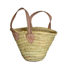 Childs Palm Shopping Basket Bag Flower Girls Bridesmaids Leather Handles