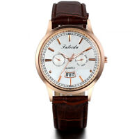 Men Classic Date Business Analog Quartz Watch with Brown Leather Band Wristwatch