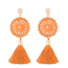 Elegant Women Handmade Net Tassel Dangle Drop Ear Stud Earrings Fashion Jewelry