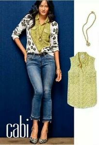CAbi New NWT Size S Viola Blouse #5348 Yellow Daisy top shirt sleeveless Small
