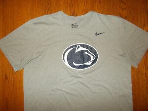 NIKE DRI-FIT NCAA PENN STATE SHORT SLEEVE GRAY T-SHIRT MENS XL EXCELLENT COND.