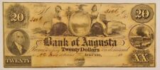 1850s Bank of Augusta Georgia Twenty Dollar Remainder Note Unsigned Madison