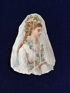 alte oblaten glanzbilder, Wunderschöne Braut Oblate,selten,um1880