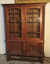 French Carved QuarterSawn Oak Cabinet / Bookcase