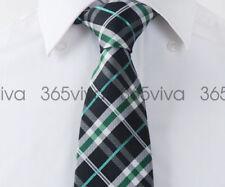 Black Greed Plaid Men Fashion Handmade 100% Woven Silk 8 cm nch Necktie Tie