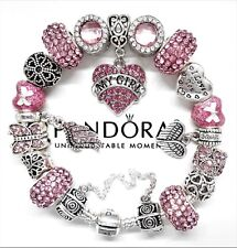 Authentic Pandora Bracelet My Girl Silver Angel Wing Love Heart European Charms.