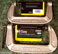 2pc COLUMBIAN 6 inch C – CLAMP Made in USA Heavy Duty Iron Frame swivel wilton