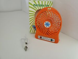 NEW Orange Rechargeable Mini Portable USB High 8 Hr 3 Speed Cooling Fan Y5