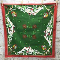 Vintage Christmas Tablecloth Swedish Jul Green Red Border Santa Tomte Nisse