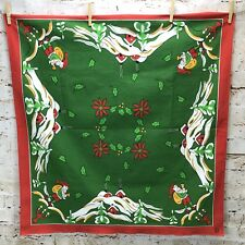 Vintage Swedish Tablecloth Jul Christmas Green Red Border Santa Tomte Nisse