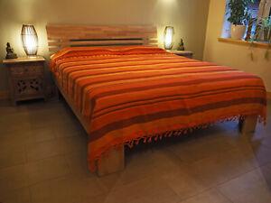 """Tagesdecke """"KERALA"""" mandarin-orange-gelb gestreift 100% Cotton, 2 Größen"""