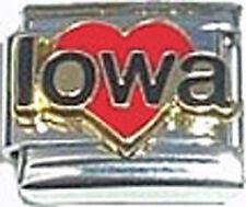 Italian Charm Enamel Love heart Iowa IA US State
