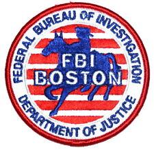 "BOSTON – FBI – MASSACHUSETTS MA FEDERAL Sheriff Police Patch HORSE RIDER 3.5""  ~"