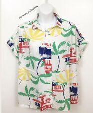 Russ Togs Womens Vintage Colorful Tropic Palm Trees Print Button Down Size 16
