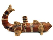 MID-20TH C VINT MEXICAN DECORATED CERAMIC STRIPED CATFISH FIGURE/CANDLE HOLDER