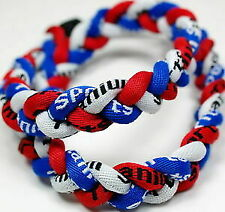 "20"" 3 Rope Titanium Twist Sport Necklace Red White Blue Tornado Baseball"