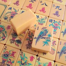 Vtg. 16 Flowers, Chinese Catalin, 156 Hand Carved Tiles, Mahjong Set Mah Jongg