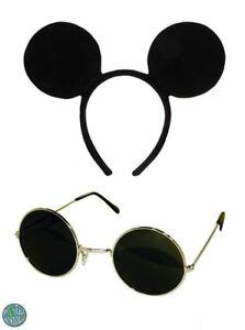 THREE BLIND MICE 2 PIECES  BLACK GLASSES AND MOUSE EARS ON HEADBAND FANCY DRESS