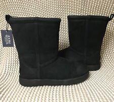 UGG Classic Short Black Waterproof Leather Sheepskin Boots Size US 11 Womens