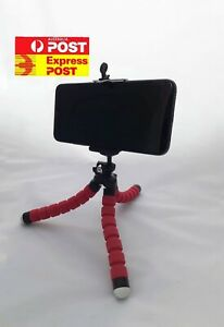 Red Camera Phone Holder Flexible Octopus Mini Tripod Stand For iPhone Android
