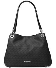 Michael Kors Raven Large Black/Silver Monogram  Shoulder Bag $298 FREE SHIP