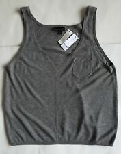Size 10 Grey Fine Knit Cashmere Mix Camisole Vest Jumper Top Sport Luxe NEW BNWT