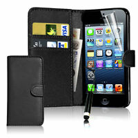 Black Flip Wallet Leather Case Cover For Apple iPhone 5 5S Free Screen Protector