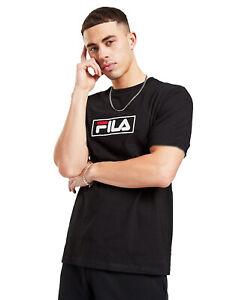 Fila Men Cotton Crew neck Short Sleeve Black Retro Logo T shirt Top Tee XS S M