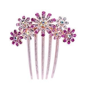Fashion Women Rhinestone Flower Wedding Bridal Hair Comb Hairpin Clip Jewelry