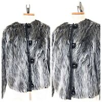 Vintage VTG 1960s 60s Gray Faux Fur Mod Button Up Jacket Coat