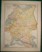 1878 ANTIQUE MAP ~ RUSSIA IN EUROPE TRANSCAUCASIA FINLAND VOLOGDA