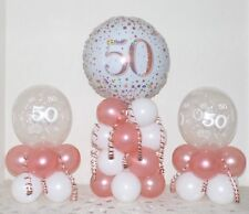 50th Birthday Rose Gold 3 Pack Party Set Table Balloon Decoration Display Kit
