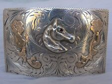 Buckle ruby Signed ster/10K Horse Head
