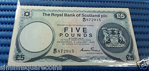 1985 Royal Bank of Scotland Five Pounds B/47 872915 Banknote Pounds Currency