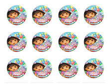 "DORA THE EXPLORER CUPCAKE TOPPERS 12x2"" EDIBLE ICING PARTY DECORATION IMAGE"
