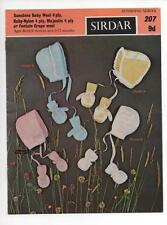 VINTAGE KNITTING PATTERN to knit BABY BONNETS & MITTENS MITTS 4 Pl y 0-6, 6-12m