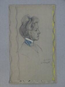 Frau im Profil - Bleistiftzeichnung - Portrait Zürich Schweiz - 1907