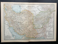 Antique Map Of Persia Iran Afghanistan Persian Gulf Caspian Sea  1903