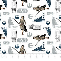 Star Wars The Force Awakens Rey White Camelot 100% cotton Fabric by the yard